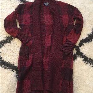 Lucky Brand Cozy Red Plaid Sweater Size Medium